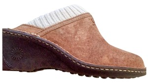 UGG Australia Shearling Lined Brown Suede And Wedges Chestnut Mules