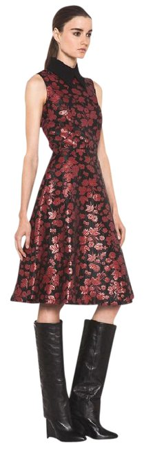 Item - Red & Black Floral Embroidered Tulle In Mid-length Cocktail Dress Size 2 (XS)