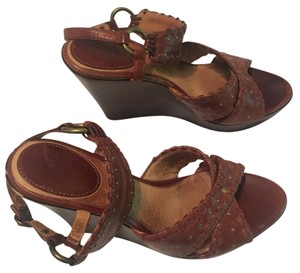 Frye Studded Leather Wood Cognac Wedges
