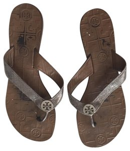 Tory Burch silver metallic and tan brown bottom Sandals