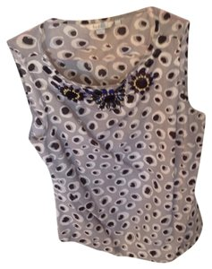 Boden Top grey, black and white with black, royal blue and yellow beading