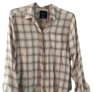American Eagle Outfitters Button Down Shirt pink, gray