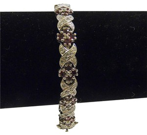 Technibond Technibond Platium Plated over .925 Sterling Silver Ruby Gemstone Bracelet size 8