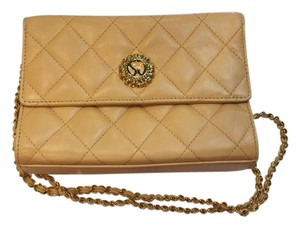 St john Quilted Leather Gold Chain Cross Body Bag
