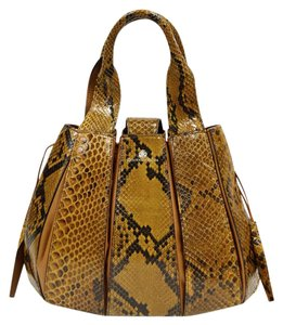 Domenico Vacca Dust Included Python & Leather Tote in Caramel brown