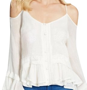 Jenna Ruffled Cold-Shoulder Top Top Gardenia/ like ivory.