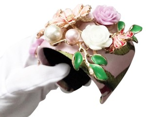 Topshop floral wide satin cuff with pearls and gold decor