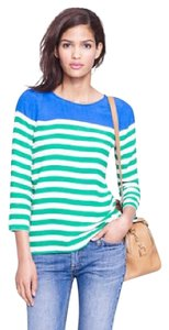 J. Crew Top green, blue and white