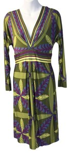 Philosophy di Alberta Ferretti Mod Geometric Green Blue Dress