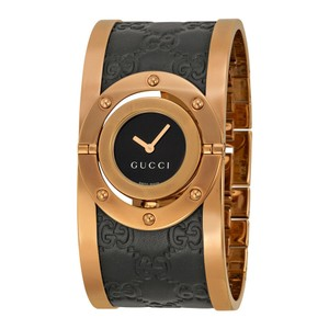 Gucci Gucci Twirl Black Dial Pink Gold PVD Leather Authentic Ladies Watch