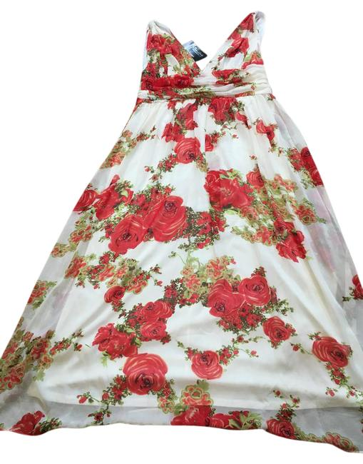 Item - White/Red/Green Evening Gown Long Formal Dress Size 16 (XL, Plus 0x)