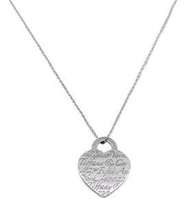 Tiffany & Co. Tiffany & Co Sterling Silver Fifth Ave NY Notes Heart Pendant Necklace
