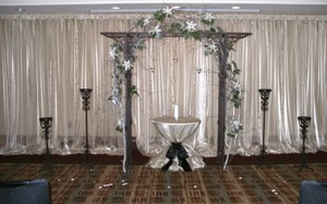 4 Champagne Crystal Organza Curtains