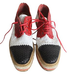 Prada Woven Leather Sneakers Size 38 Platform Red + Black + White Athletic
