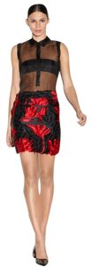 MILLY Italian Mini Mini Skirt Red, Black