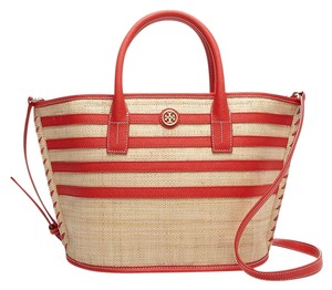 Tory Burch Natural Stripe Straw Tote in Red