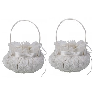 Ivory 2-pack Ships Free Embroidered Rosette Flower Girl Basket