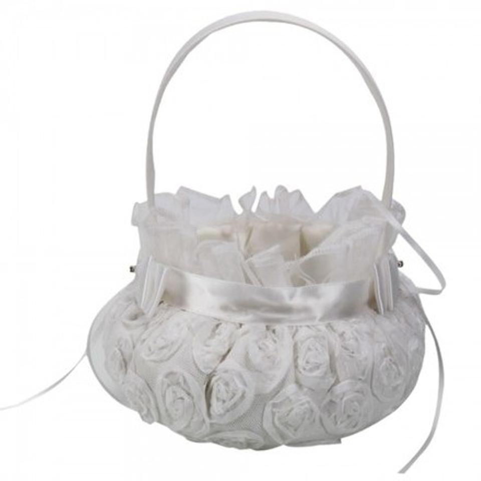Ivory 2 Pack Ships Free Embroidered Rosette Flower Girl Basket Tradesy