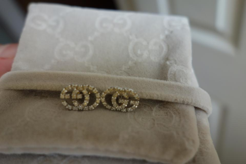 576bdc6c0142a6 Gucci Gucci 18K White Gold with Diamonds Running GG Stud Earrings Image 10.  1234567891011