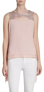 BCBGMAXAZRIA Sequin Chiffon Top Blush