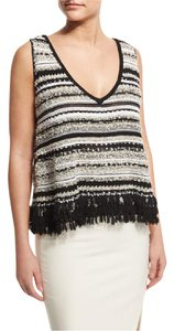 Elizabeth and James Fringe Linear Top Black & White