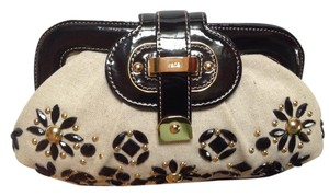 Rafe Linen And Patent Dustbag Black/Natural Clutch