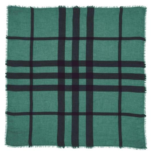 Burberry New Overdyed Chambray Check Square Scarf