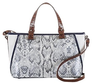 Brahmin Exotic Leather Adj Lthr Straps Gold Hardware Satchel in Grey Sierra