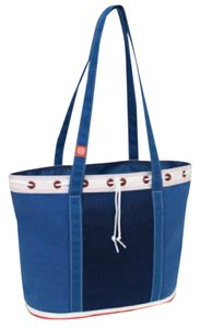 Mercury Luggage Tote in blue, red and white