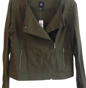 Gap Moto Drape Draped Linen Olive Green Jacket