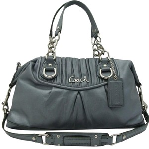 Coach Tote Ashley Gathered Leather Satchel in Gray