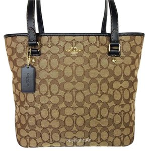 Coach Zip Top F58282 Signature Canvas Outline Tote in Khaki / Brown