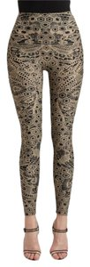 Alexander McQueen Unique Lace Print Stretch Natural & Black Leggings