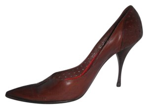 Saint Laurent Leather Cutout Rive Gauche Pointy Heels Ysl Brown Pumps