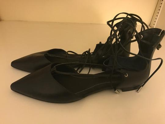 Kendall + Kylie Pointed Toe Trendy Lace-up Leather Upper Black Flats