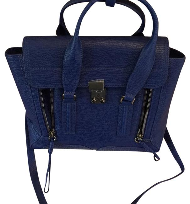 Item - Medium Pashli Cobalt Blue Textured Leather Shoulder Bag