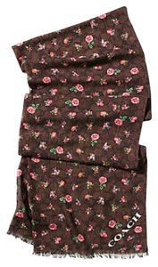 Coach Floral Printed Signature C Oblong Scarf Brown