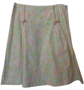 Elevenses Anthroplogie Straight Knee Medium Floral Skirt Pink, blue, green, white