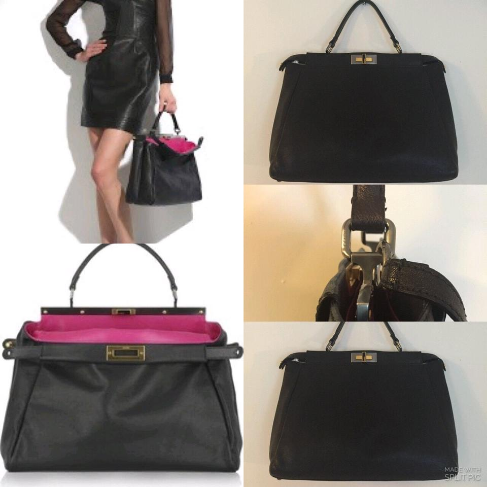eb3c6e7fbf70 Fendi Satchel in Black Fuchsia Image 10. 1234567891011
