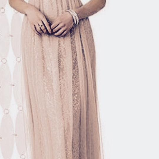 After Six Cameo Soft Tulle On Top Of Silver Speckled Rococo Lace Designer Long Gown Formal Bridesmaid/Mob Dress Size 8 (M)