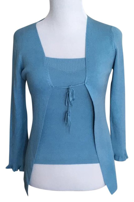 Preload https://img-static.tradesy.com/item/21369631/max-studio-twinset-with-ribbed-knit-detail-silk-sky-blue-sweater-0-1-650-650.jpg
