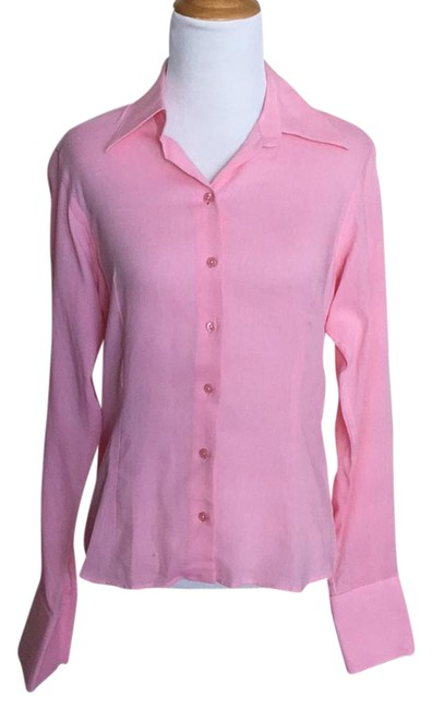 Thomas Pink Cotton Twill Striped Pinstripe Buttoned Button Down Shirt pink and white
