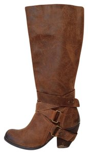 Fergie Belted Distressed Brown Boots