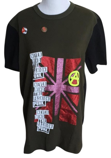 """Item - Army Green Colorblock D+g """"Never Mind The Fashion Punk"""" Tee Shirt Size 14 (L)"""