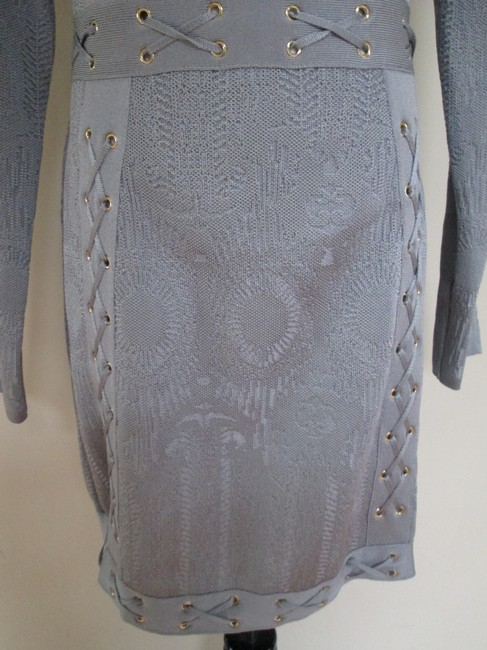 Balmain Grommet Laced Long Sleeve Dress