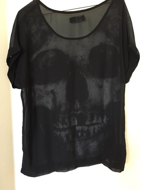 Iron Fist Skull Sheer Top Black