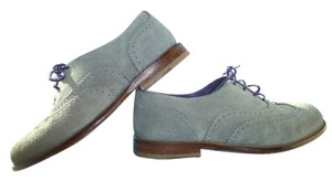 BODEN Brogues Nubuck Suede Leather Gray/purple Gray Flats
