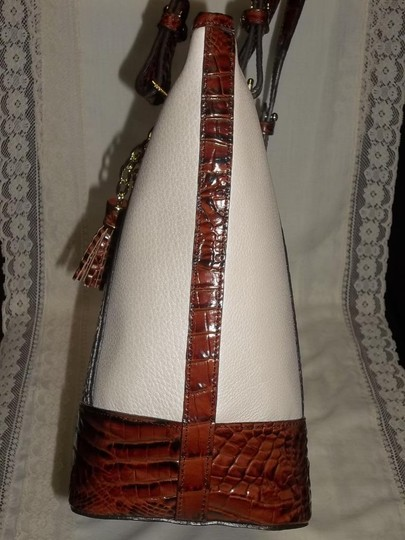 Brahmin Satchel in Melon Fisher, White, Snake and Pecan