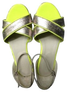 Boden Leather Sorrento Ankle Strap Silver Sandals
