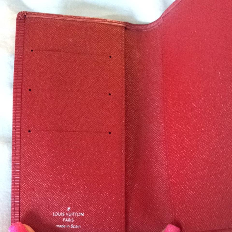 louis vuitton red check register wallet tradesy